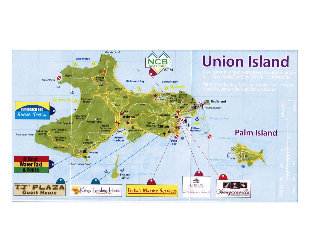 Large detailed tourist map of the Union Island, Saint Vincent and the Grenadines with roads and other marks