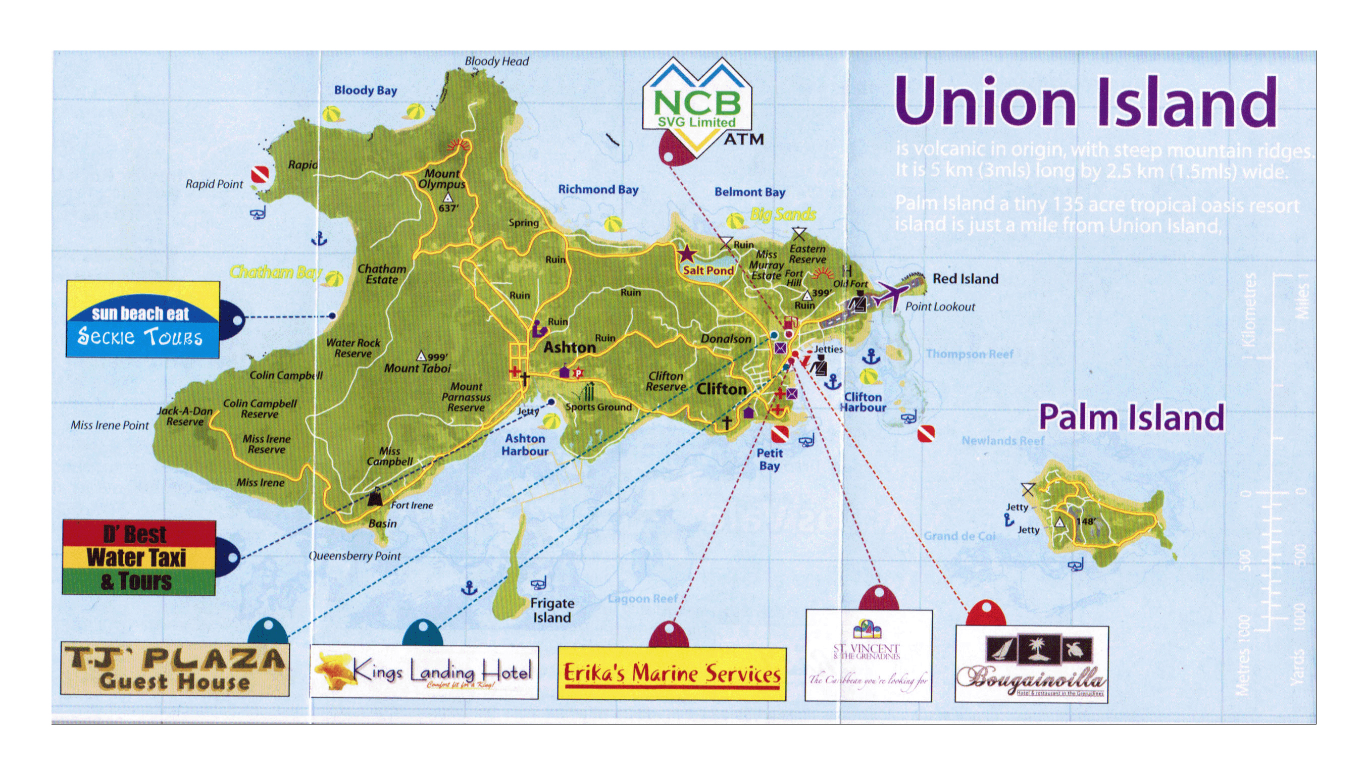 Large detailed tourist map of the Union Island Saint Vincent and
