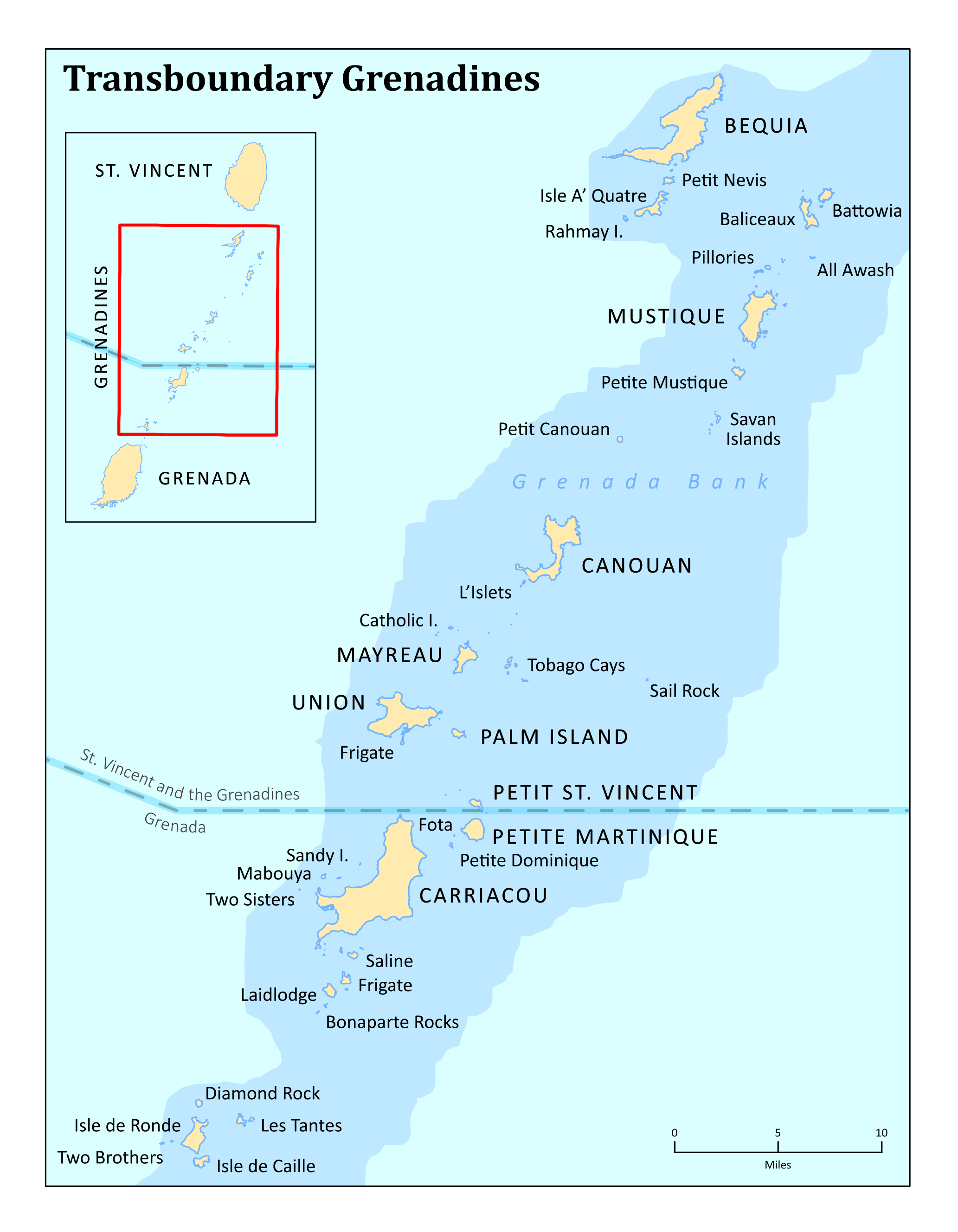 Large detailed transboundary map of Grenadines Saint Vincent and