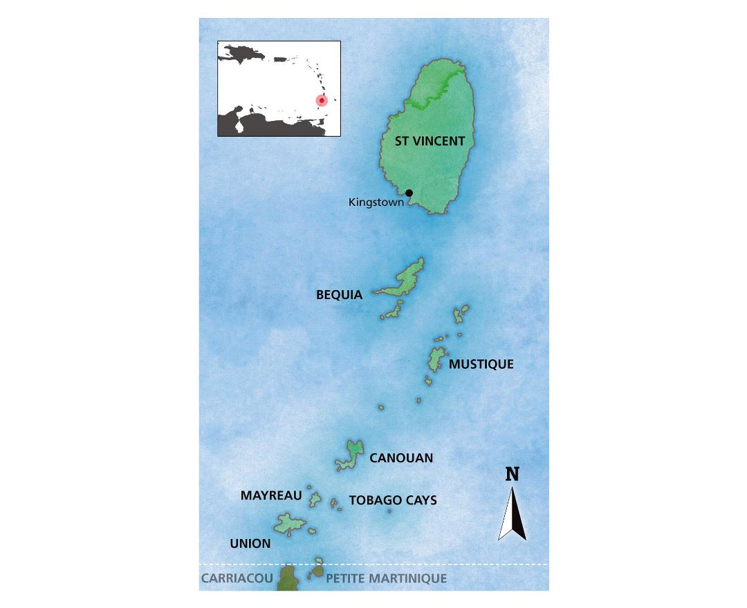 Large map of Saint Vincent and the Grenadines