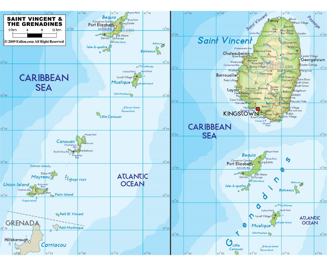 Large physical map of Saint Vincent and the Grenadines with roads, cities and airports