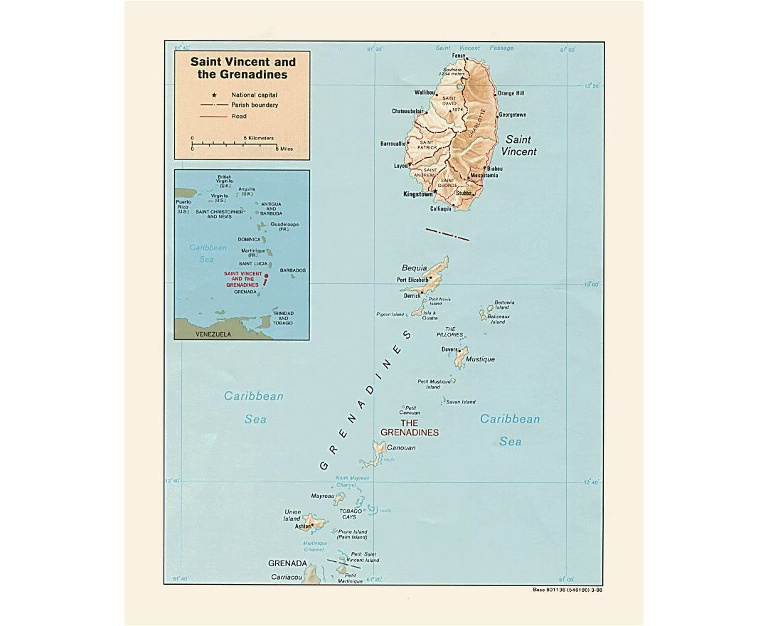 Large political and administrative map of Saint Vincent and the Grenadines with relief, roads and cities - 1988