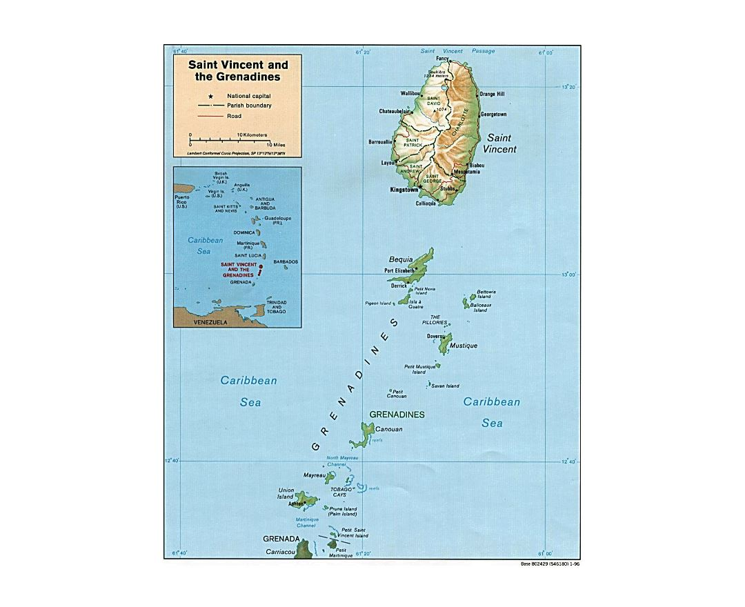 Large political and administrative map of Saint Vincent and the Grenadines with relief, roads and cities - 1996