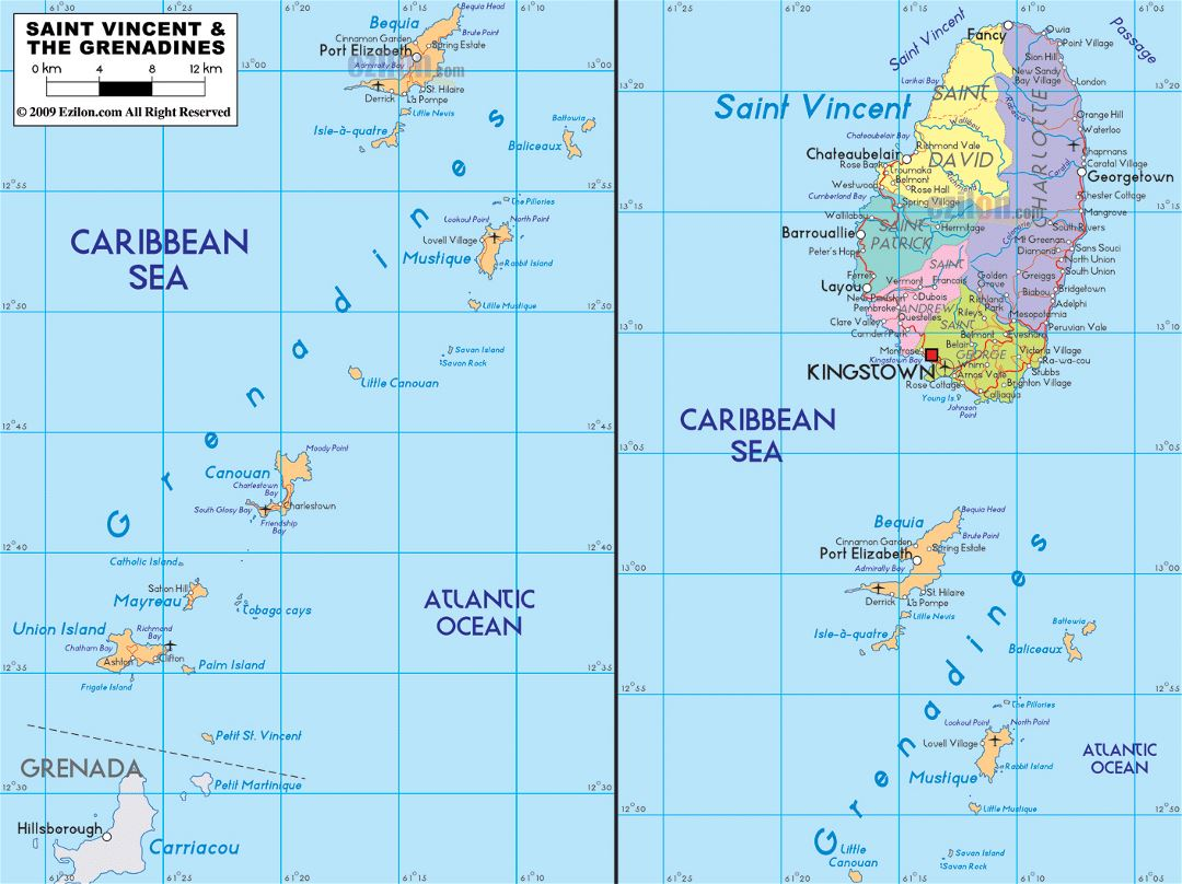 Large political and administrative map of Saint Vincent and the Grenadines with roads, cities and airports