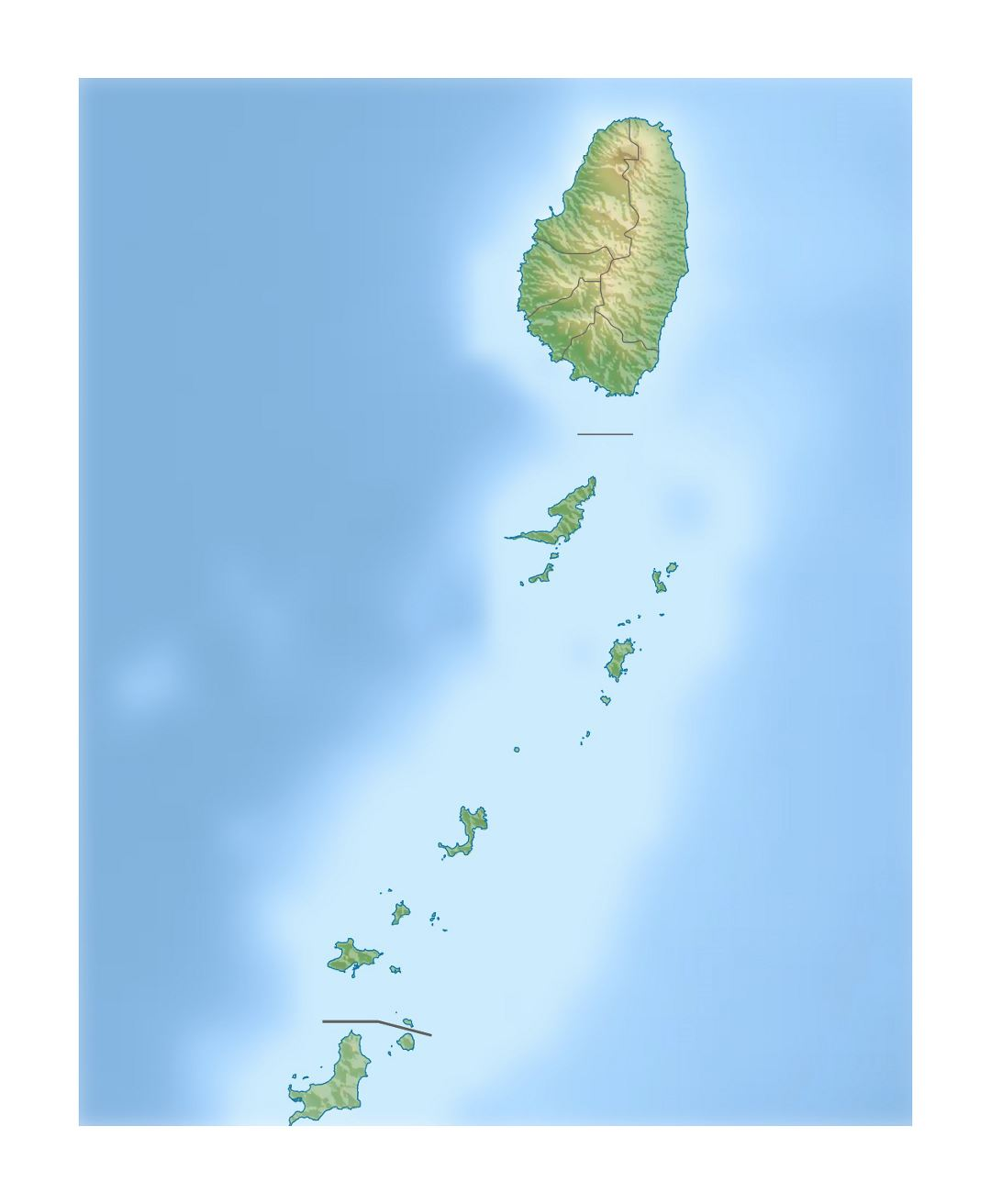 Large relief map of Saint Vincent and the Grenadines