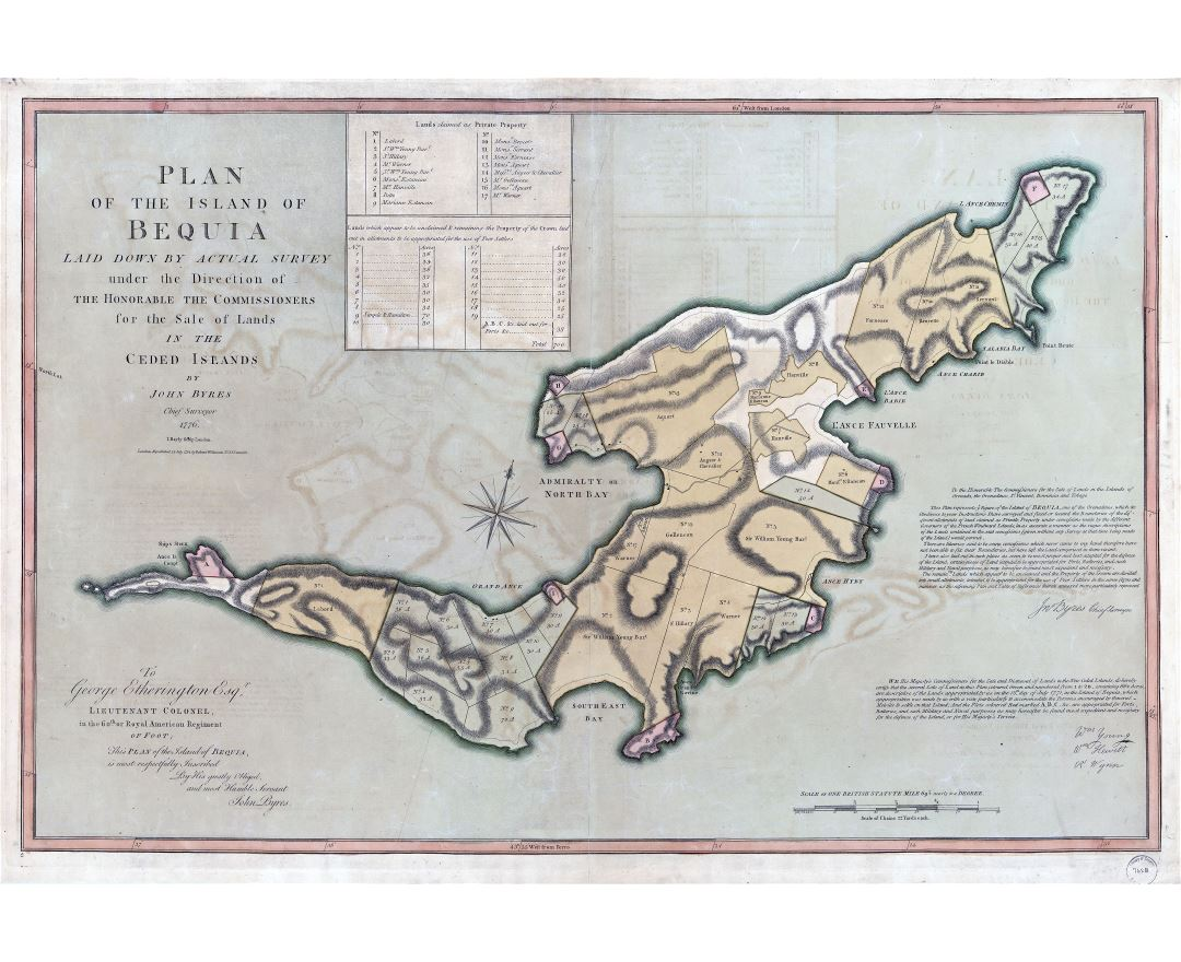 Large scale detailed old plan of the Island of Bequia - 1794