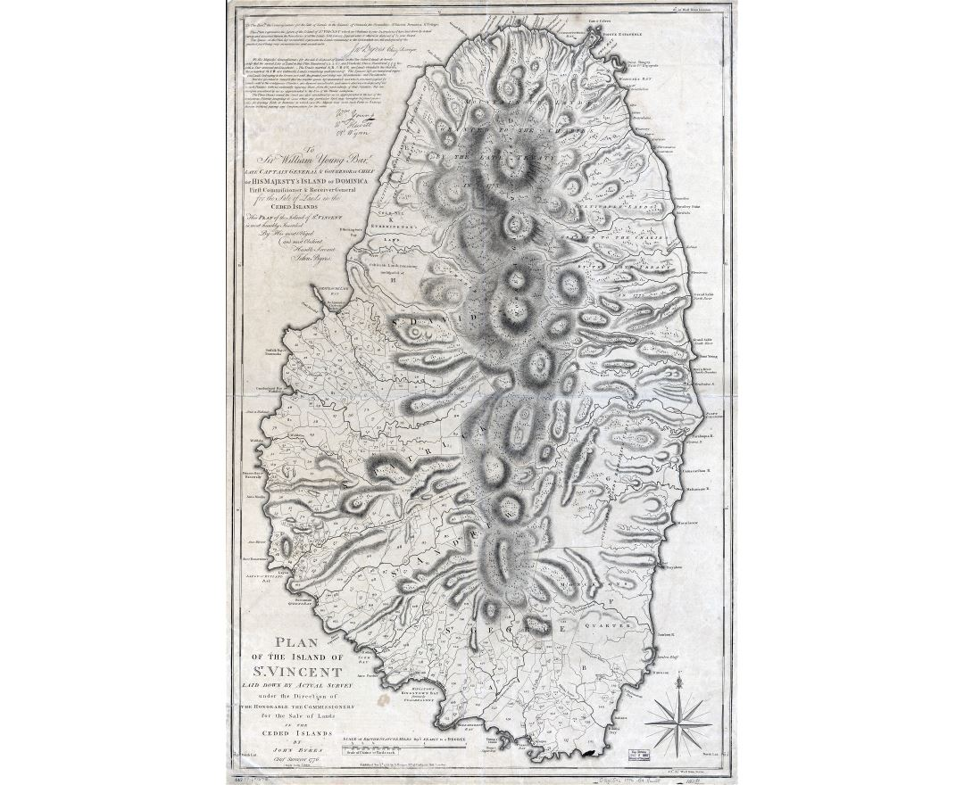 Large scale detailed old plan of the Island of St. Vincent - 1776
