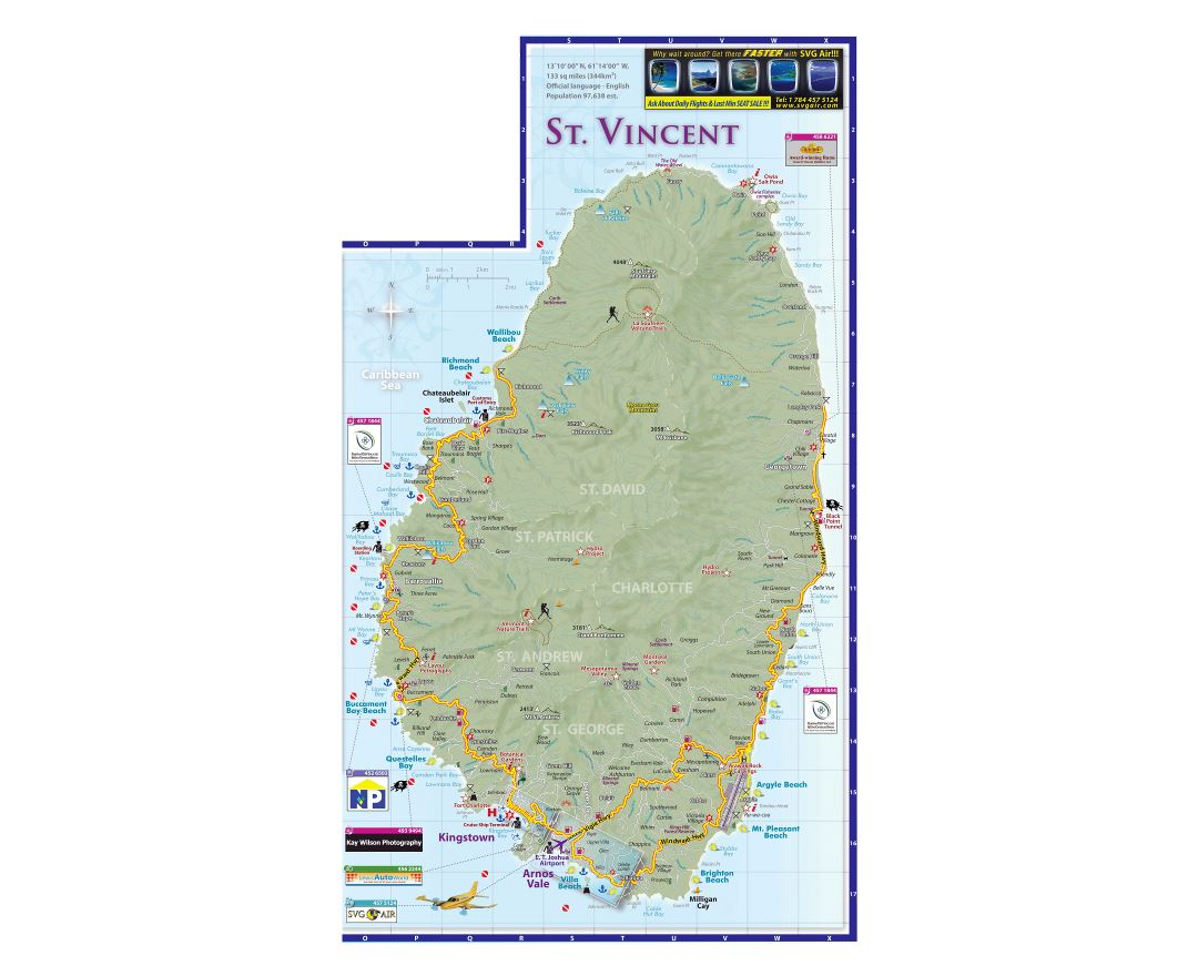 Large tourist map of Saint Vincent Island with roads, cities and other marks