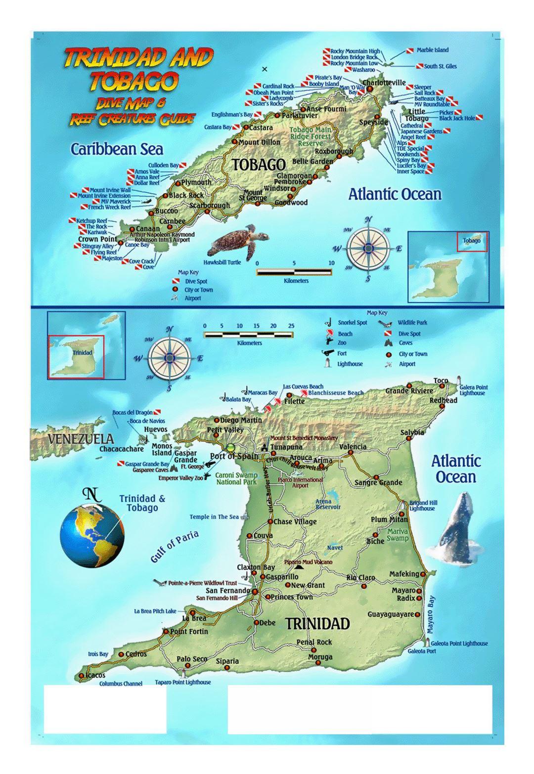 Detailed dive map of Trinidad and Tobago Trinidad and Tobago