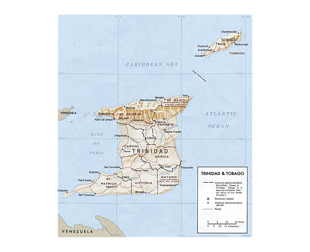 Detailed political and administrative map of Trinidad and Tobago with releif, rivers, roads and cities