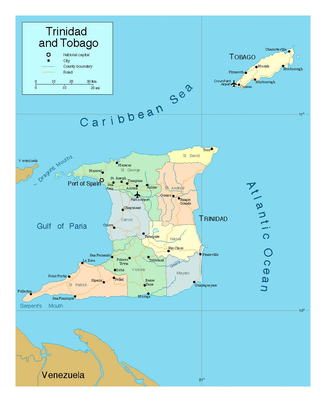 Detailed political and administrative map of Trinidad and Tobago