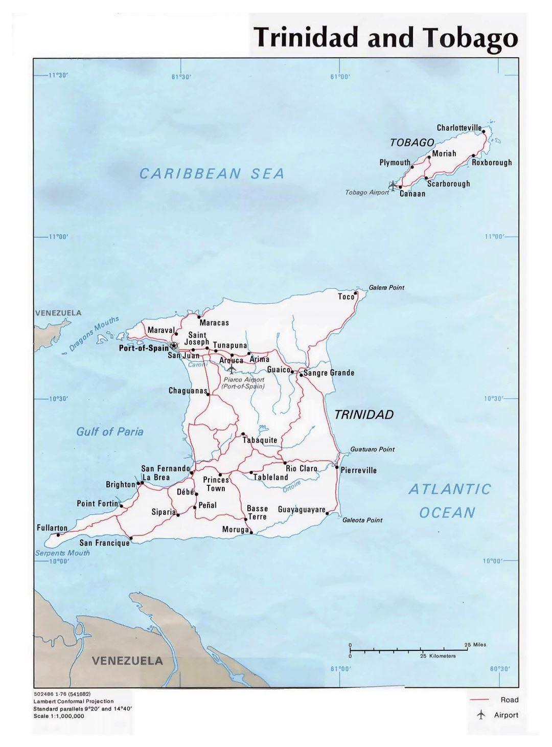 Detailed political map of Trinidad and Tobago with roads, cities and airports - 1976
