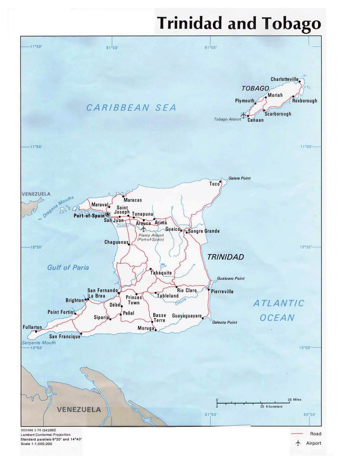 Detailed political map of Trinidad and Tobago with roads cities and