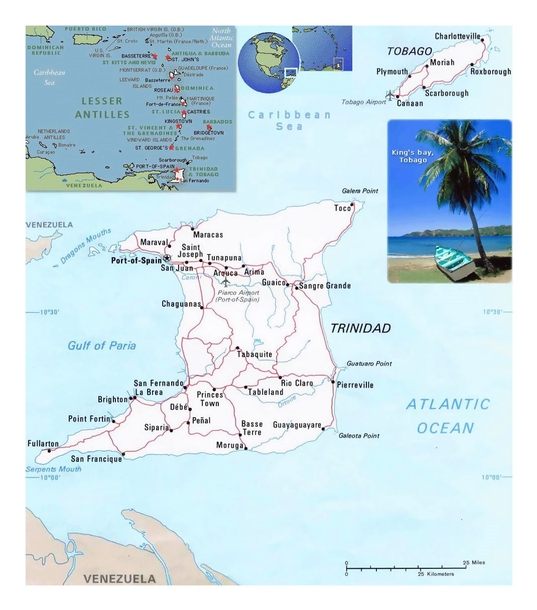 Detailed political map of Trinidad and Tobago with roads, cities and airports