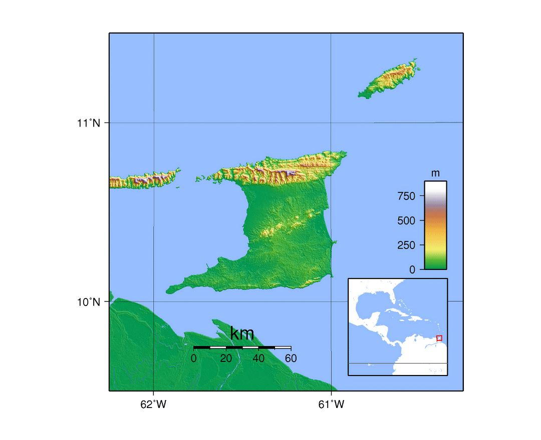 Detailed topographical map of Trinidad and Tobago