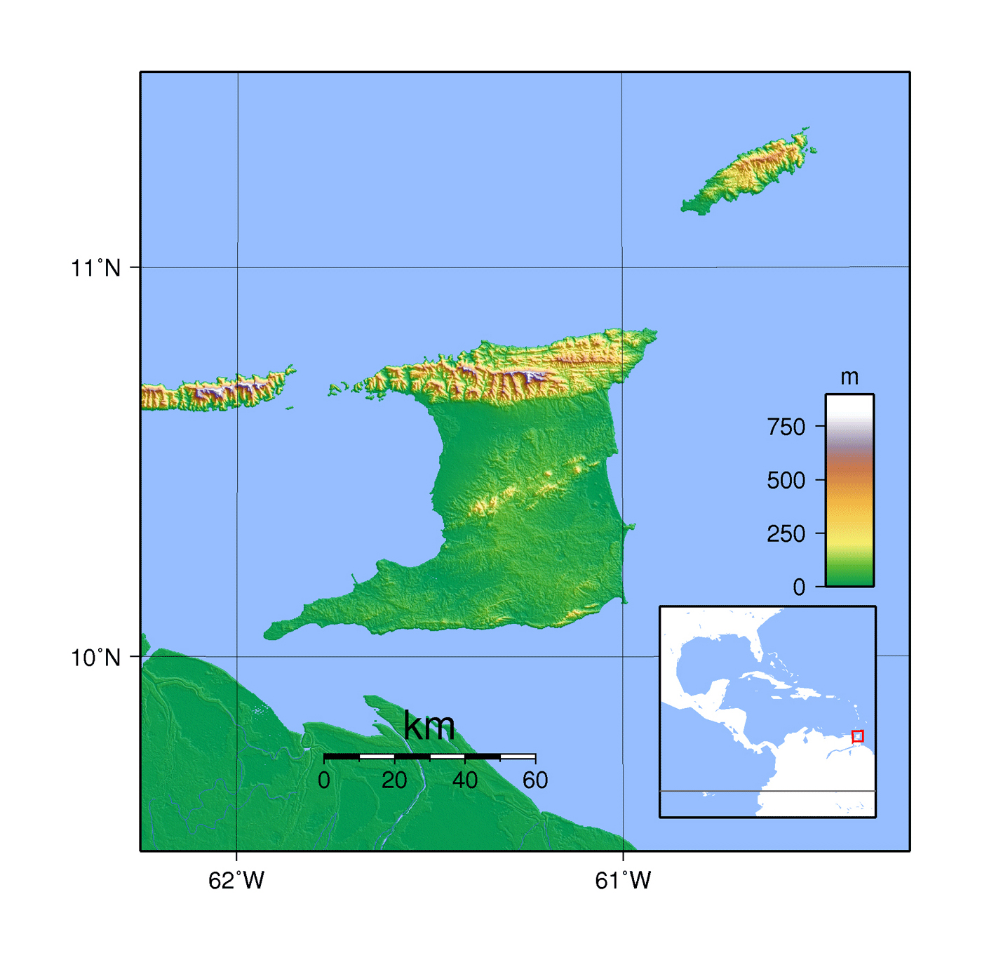 Detailed topographical map of Trinidad and Tobago Trinidad and