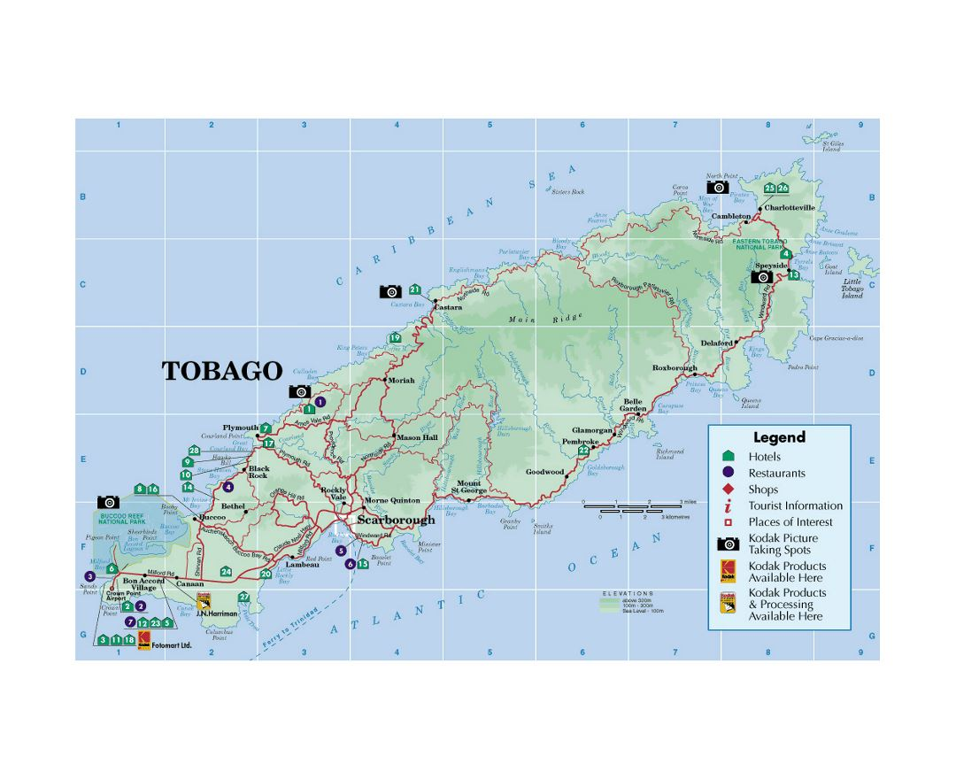 Detailed tourist map of Tobago with other marks