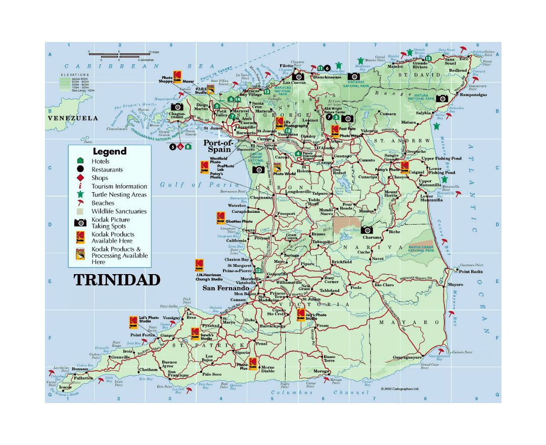 Detailed tourist map of Trinidad with other marks