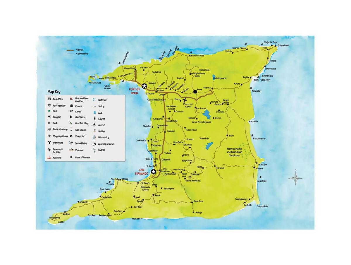Detailed travel map of Trinidad Trinidad and Tobago North