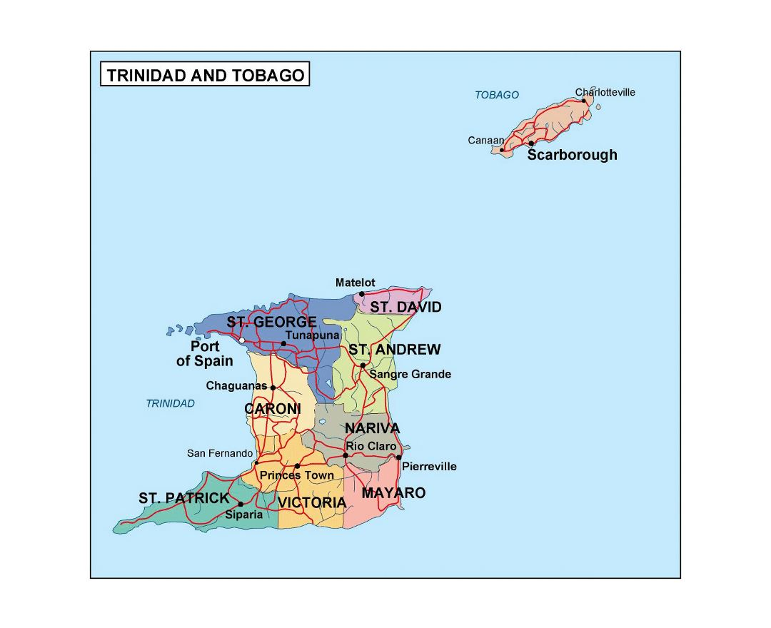 Large administrative map of Trinidad and Tobago with roads and cities