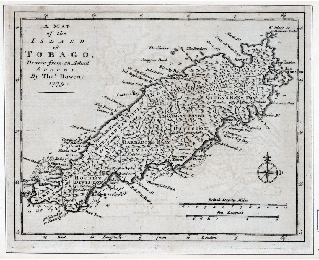 Large detailed old map of the Island of Tobago with relief and other marks - 1778
