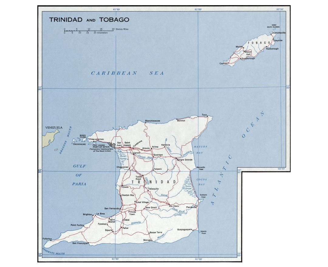 Maps of Trinidad and Tobago Detailed map of Trinidad and Tobago in