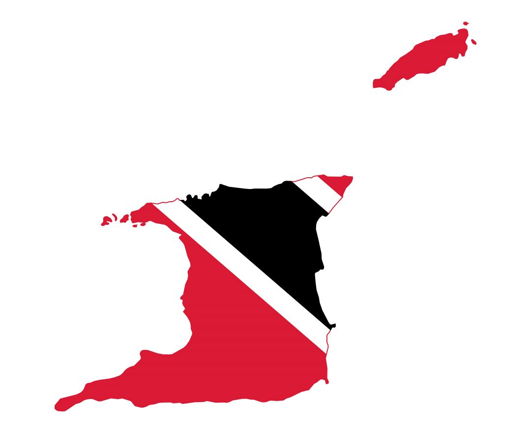 Large flag map of Trinidad and Tobago