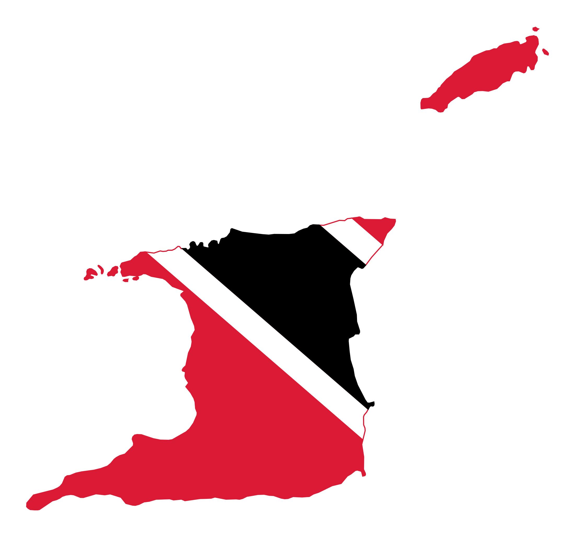 Large flag map of Trinidad and Tobago Trinidad and Tobago North