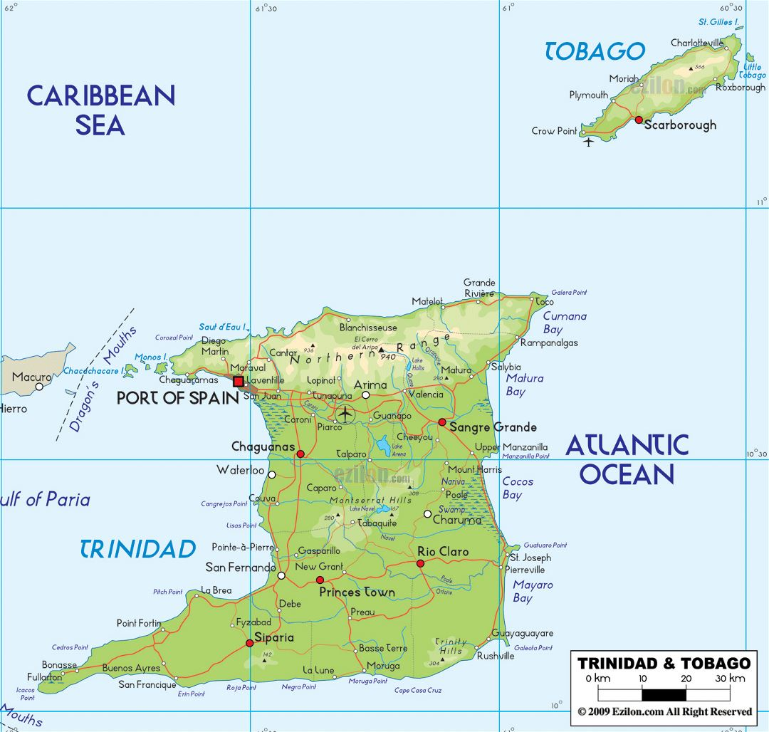 Large physical map of Trinidad and Tobago with roads, cities and airports