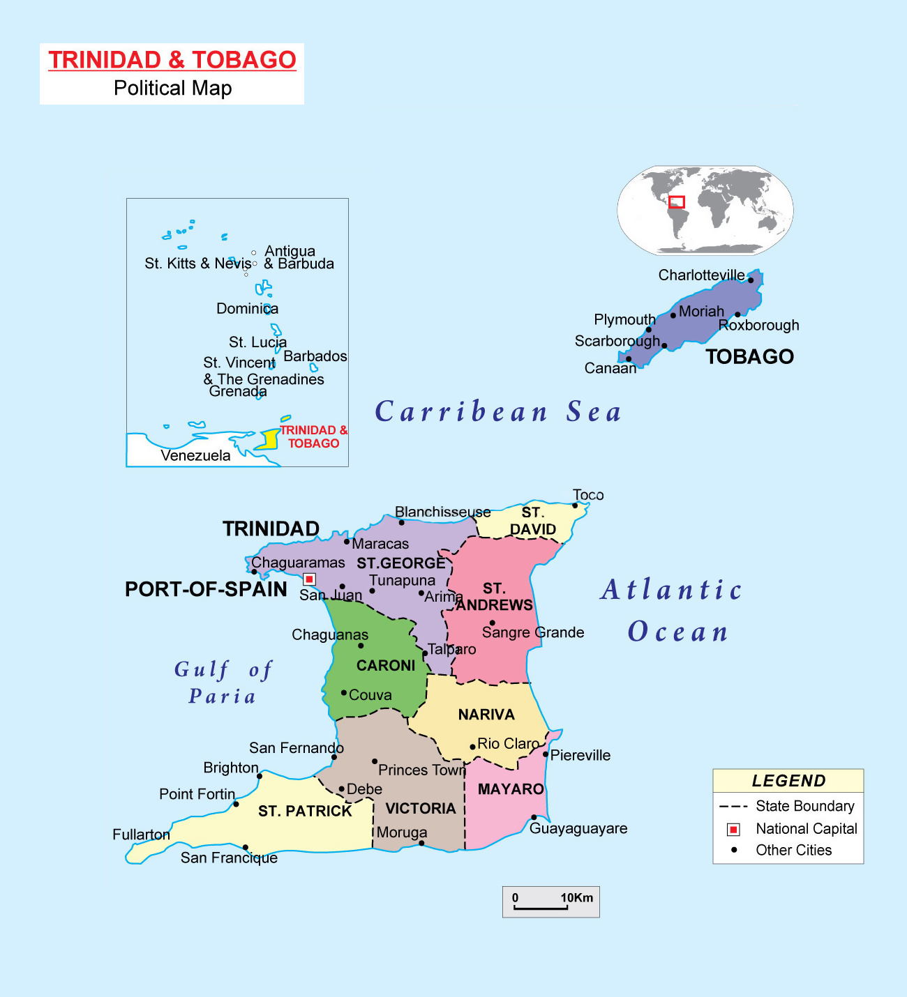 Large political and administrative map of Trinidad and Tobago with