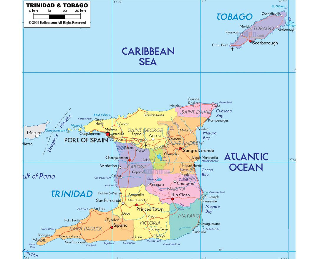 Large political and administrative map of Trinidad and Tobago with roads, cities and airports