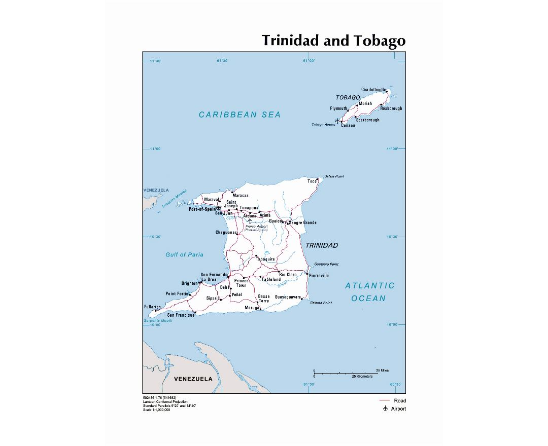 Large political map of Trinidad and Tobago with roads, cities and airports - 1976
