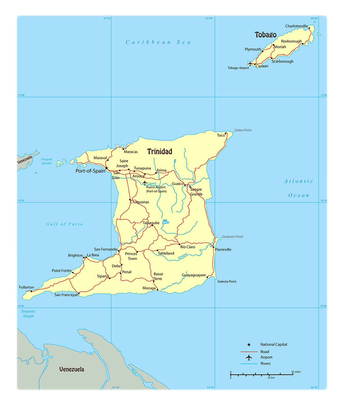 Large political map of Trinidad and Tobago with roads ... on map of north america rail, map of north america water, map of north america agriculture, map of north america food, map of north america refineries, map of north america time zones, map of north america waterways, map of north america auto plants, usa map airports, map china airports, map of north america national parks, map of north america ports, central america airports, map of north america rivers, map of north america cement plants, america's airports, map of north america railway,