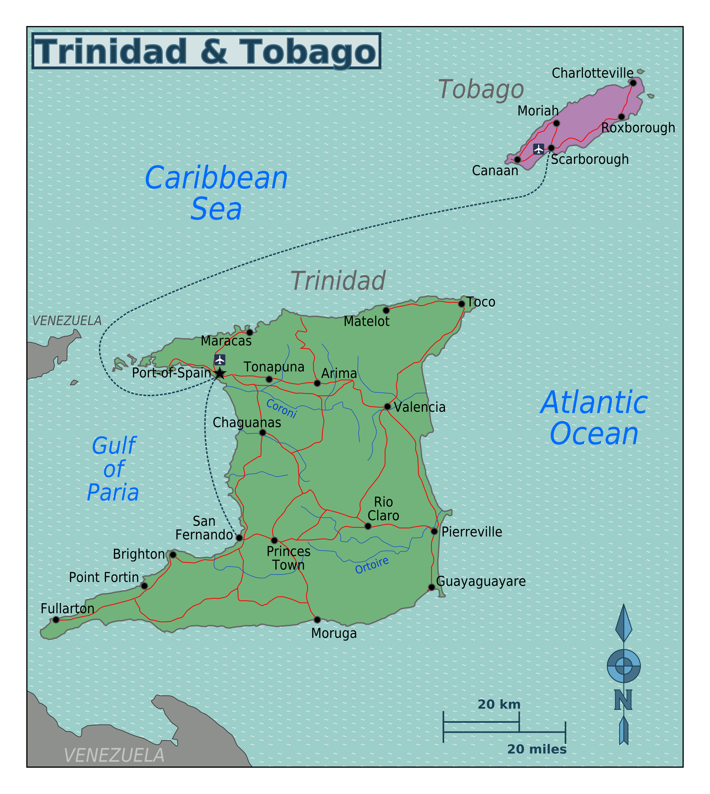 Large Regions Map Of Trinidad And Tobago Trinidad And Tobago North America Mapsland Maps Of The World