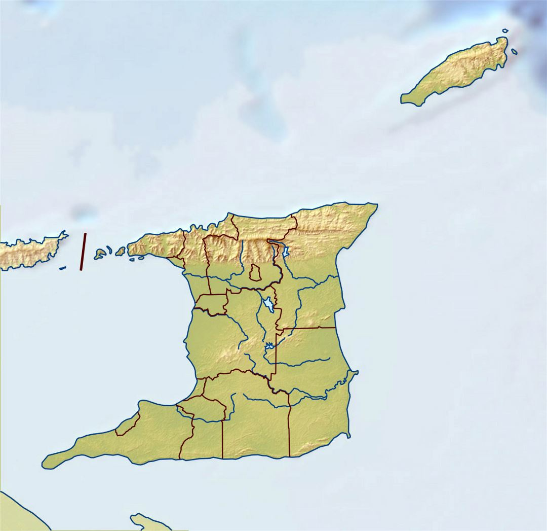 Large relief map of Trinidad and Tobago