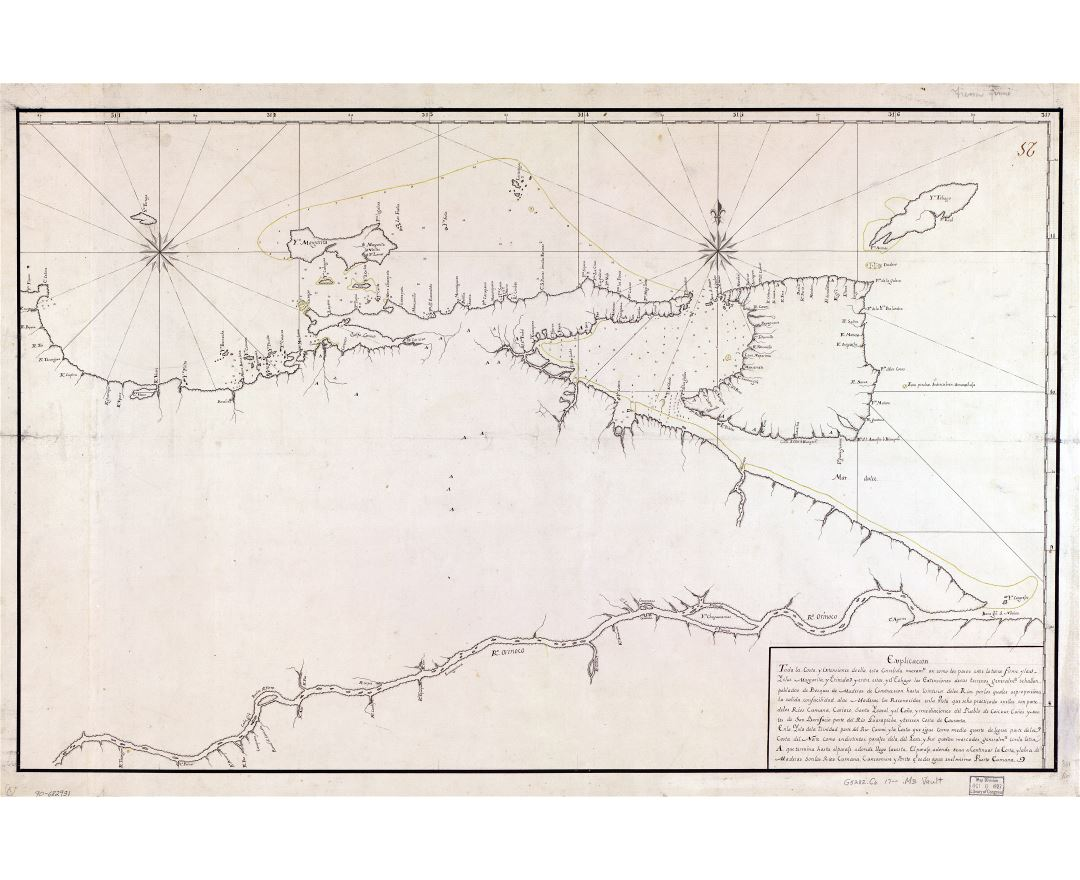 Large scale old map of Northeastern Coast of Venezuela including Trinidad and Tobago islands - 17xx