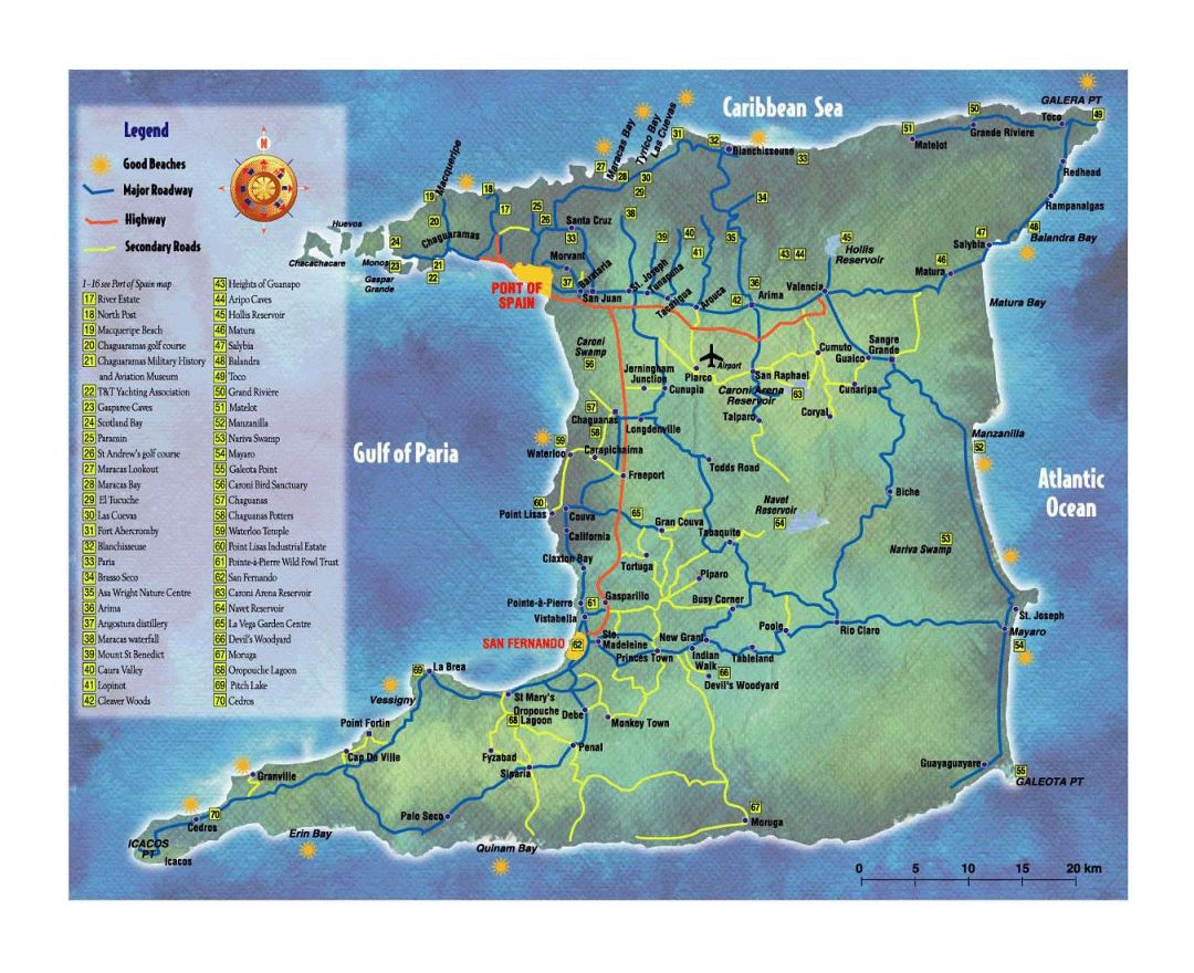 Large tourist map of Trinidad