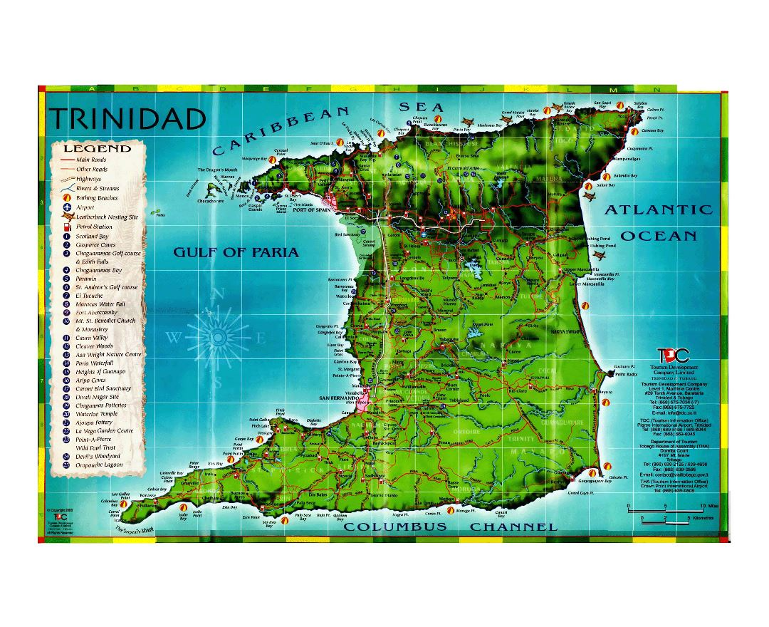 Large tourist map of Trinidad with other marks