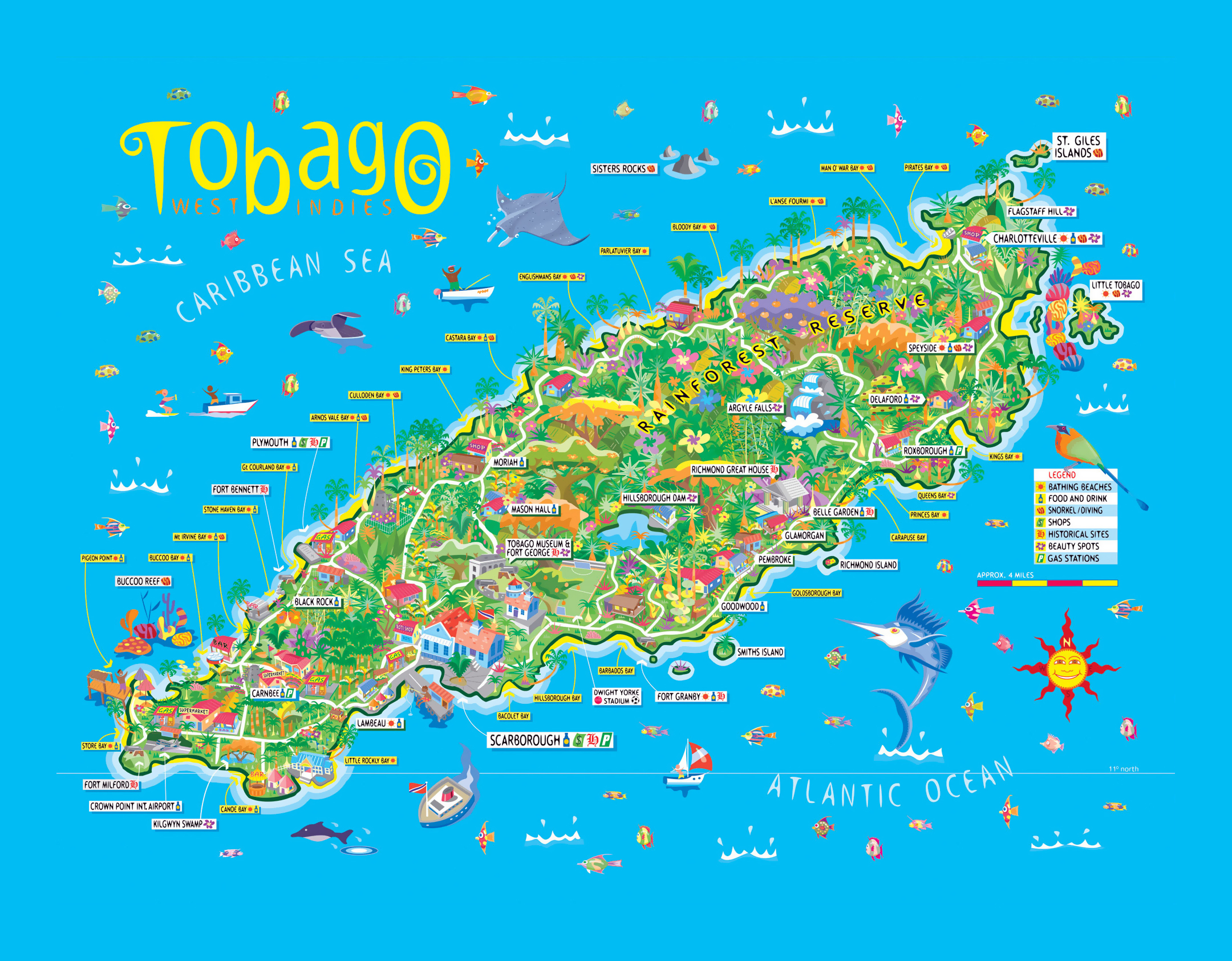 Large travel illustrated map of Tobago Trinidad and Tobago North