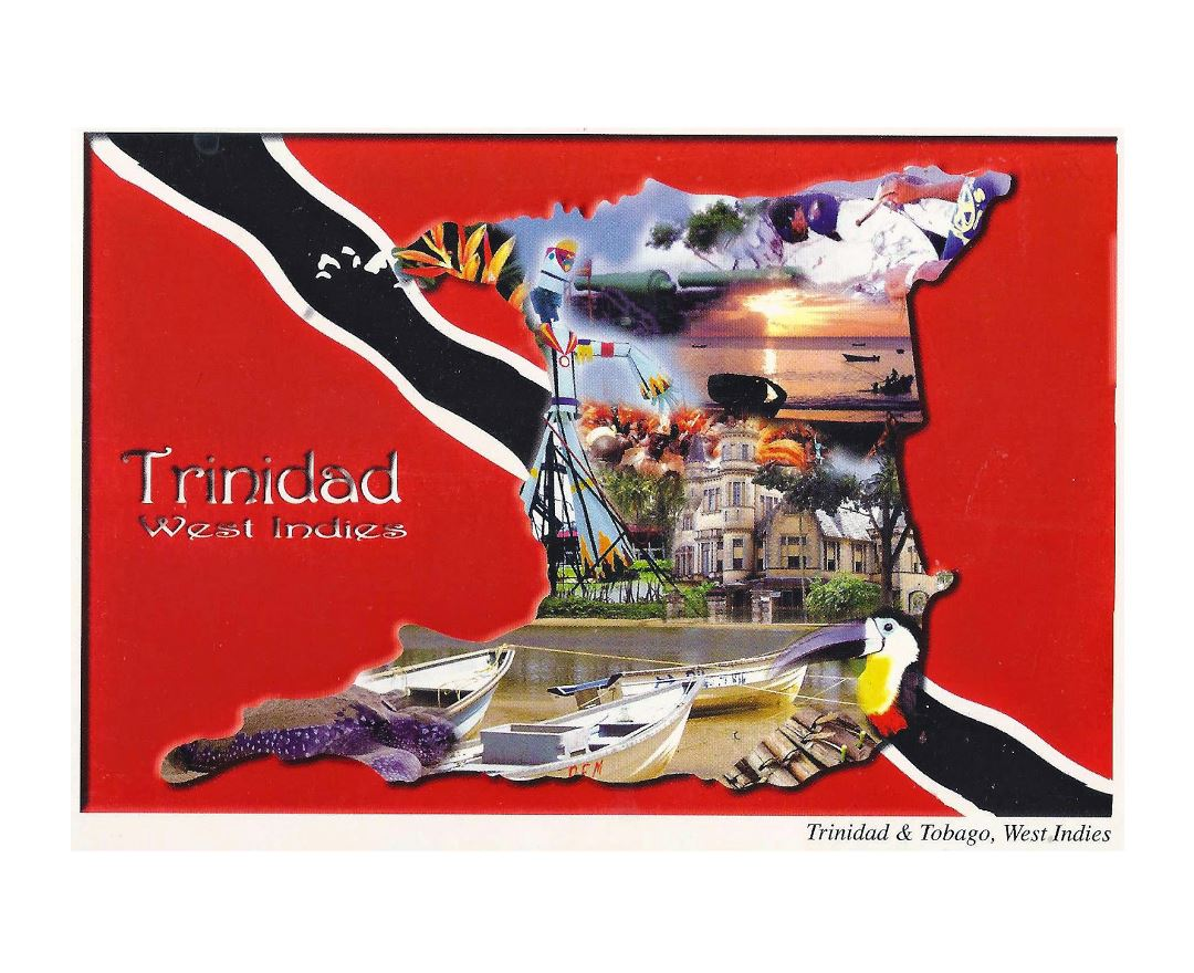 Large Trinidad postcard card with contour map