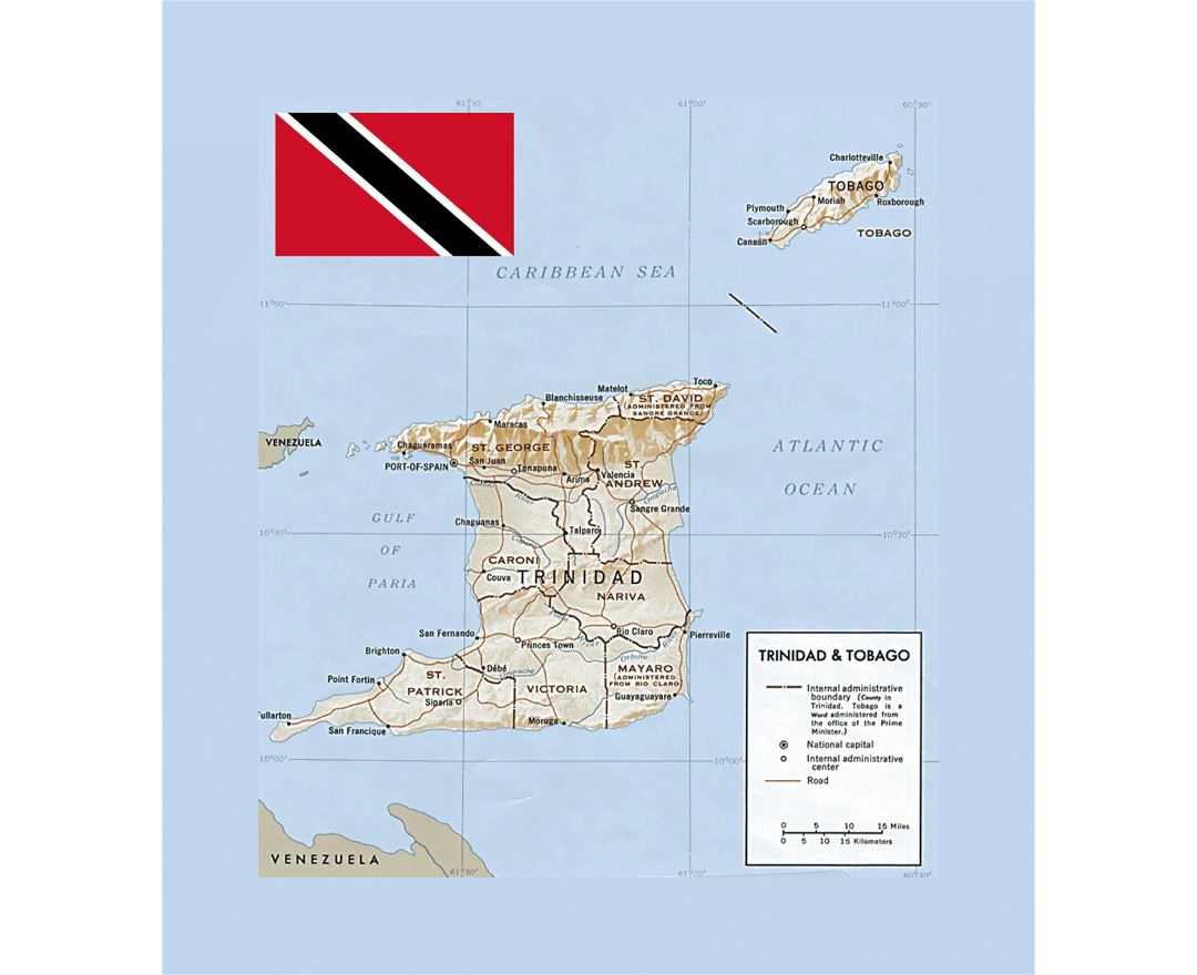 Political and administrative map of Trinidad and Tobago with relief and other marks