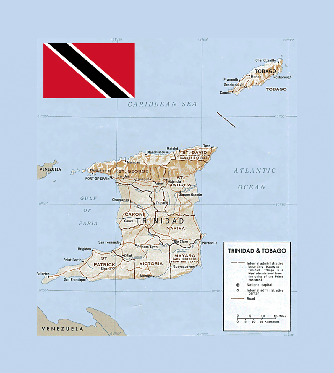 Political and administrative map of Trinidad and Tobago with relief