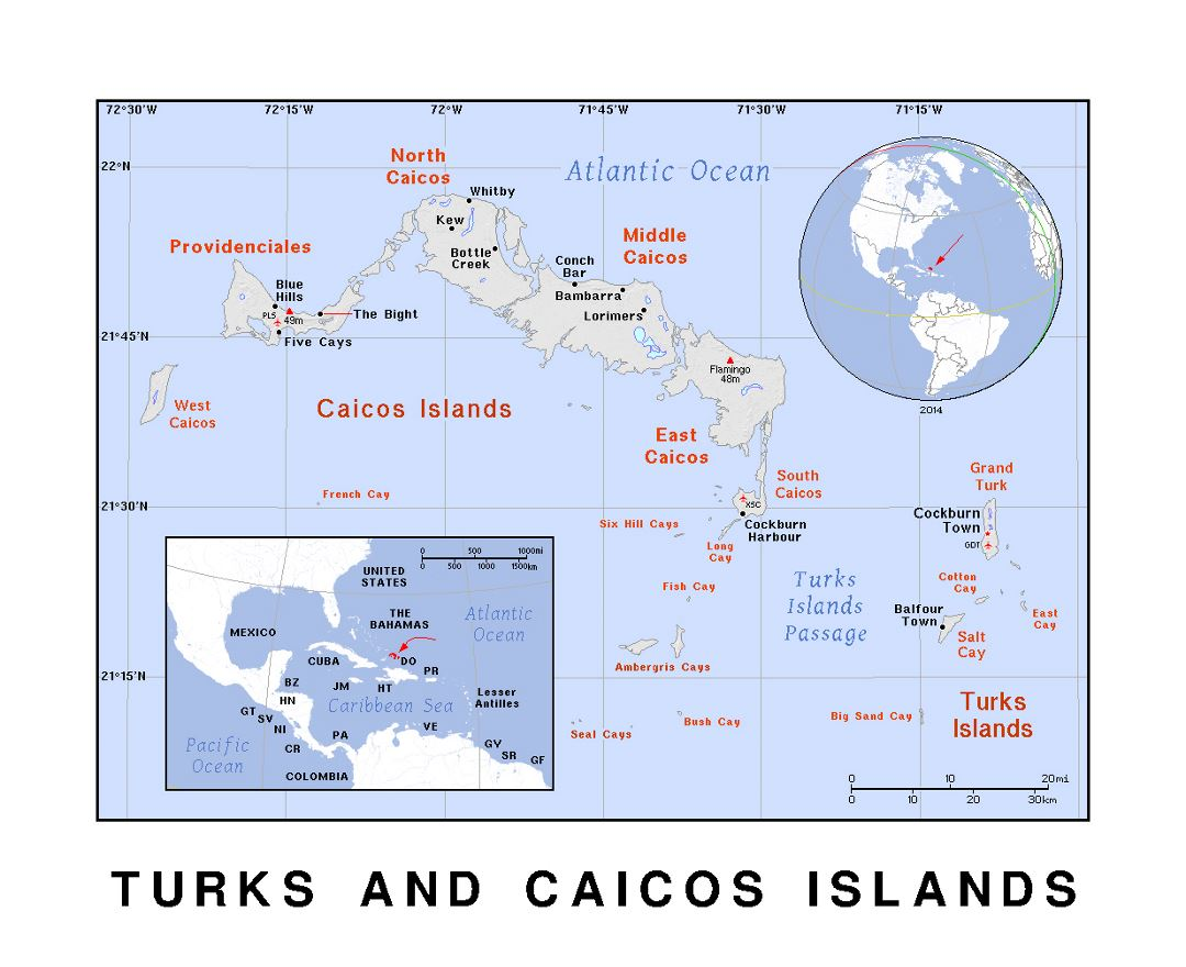 detailed political map of turks and caicos islands with relief