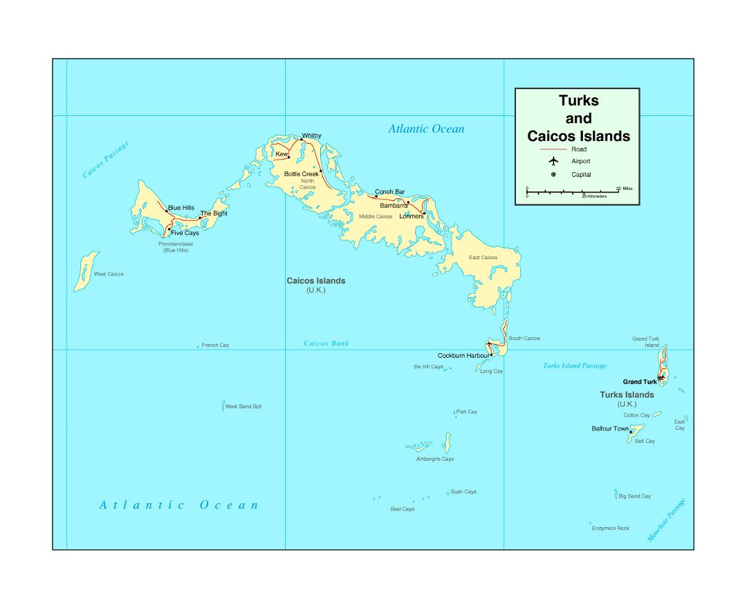 Detailed political map of Turks and Caicos Islands with roads, major cities and airports