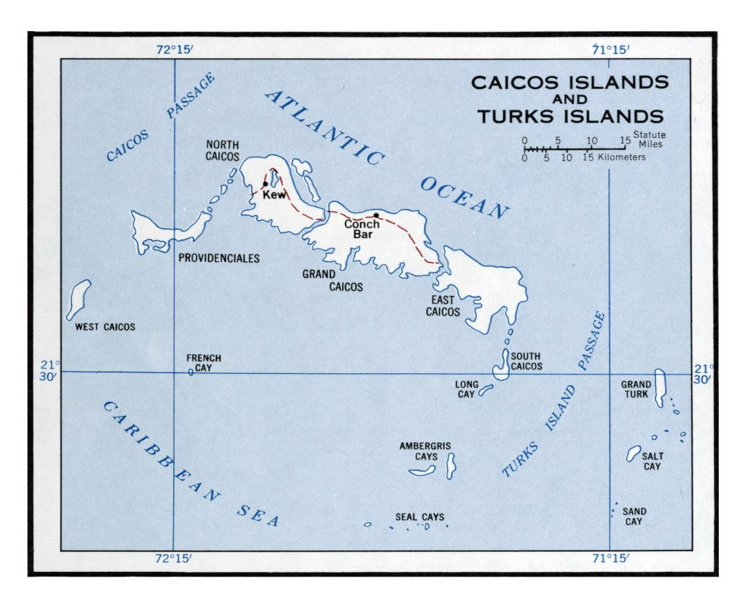 Large political map of Turks and Caicos Islands - 1958