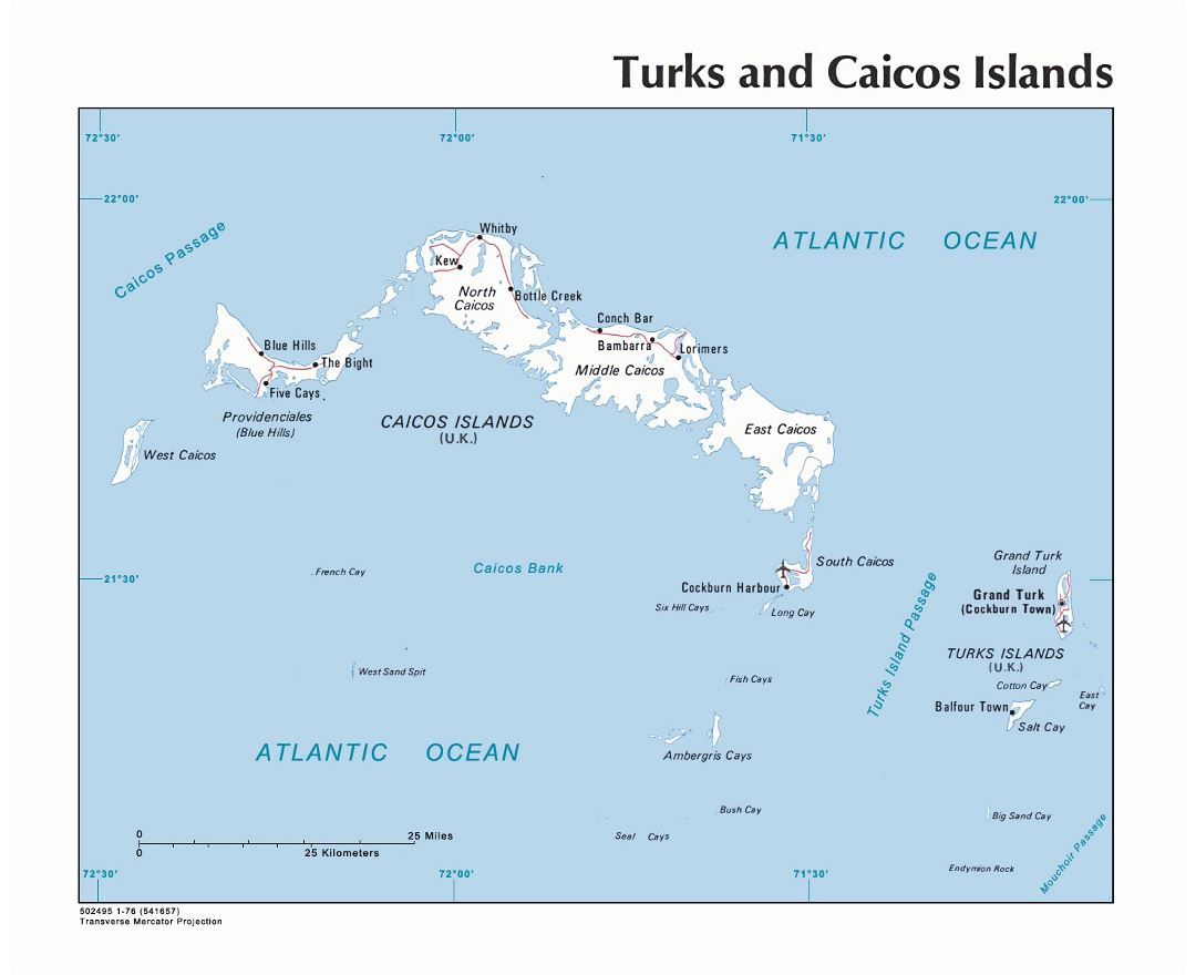 Large political map of Turks and Caicos Islands with roads, cities and airports - 1976