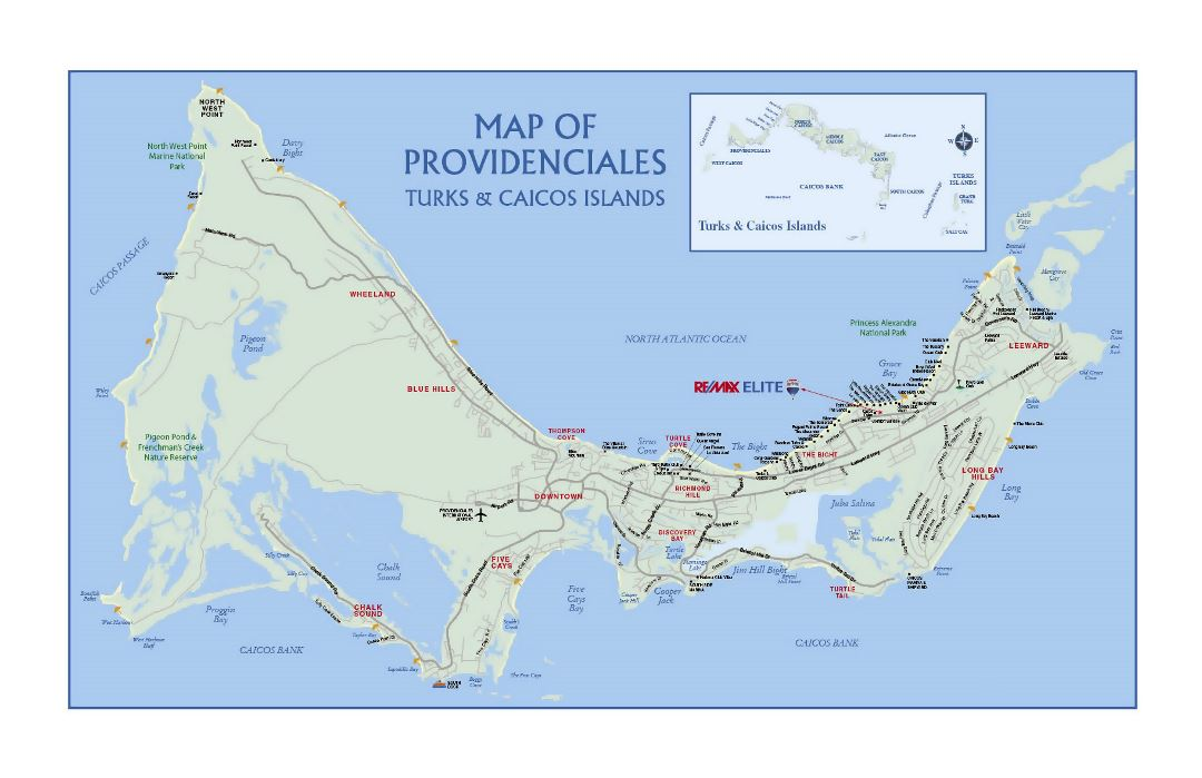 Large road map of Providenciales Island, Turks and Caicos Islands