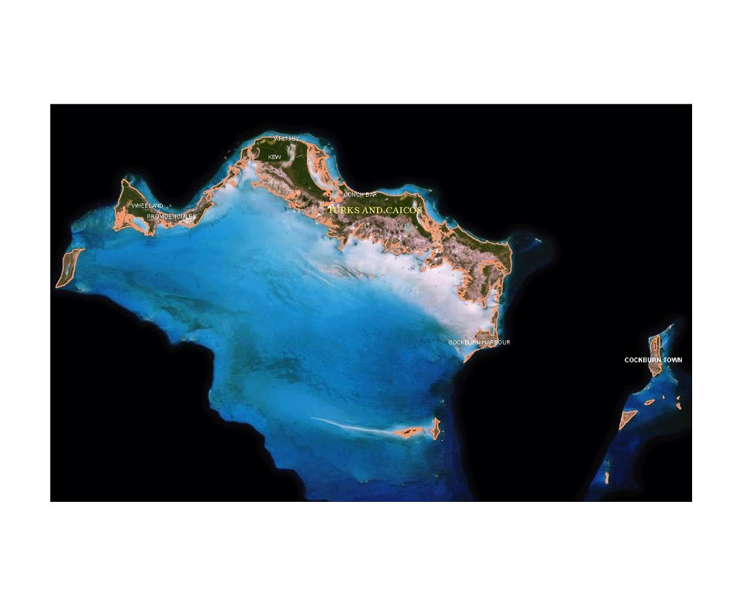 Large satellite map of Turks and Caicos Islands