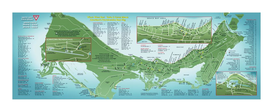 Large travel map of Providenciales Island, Turks and Caicos Islands