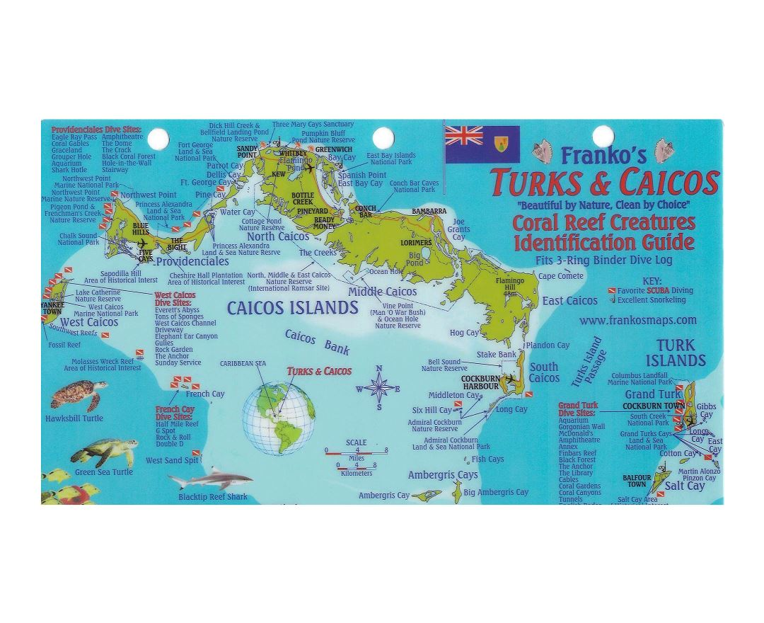 Large travel map of Turks and Caicos Islands